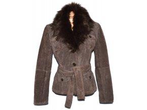 KOŽENÝ dámský hnědý kabátek s páskem a kožíškem L