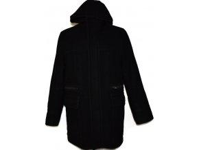 Vlněný pánský černý kabát na zip NEXT (vlna,kašmír) S