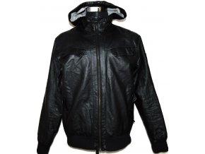 Pánská černá koženková bunda na zip L