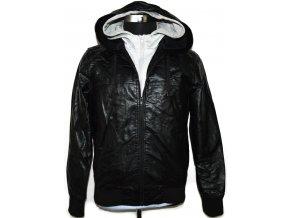 Pánská černá koženková bunda na zip NEW LOOK Mkoze