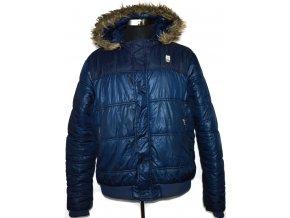 Pánská modrá bunda na zip s kapucí CROSS HATCH XXL