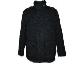 Vlněný pánský šedočerný kabát DEBENHAMS L
