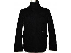 Vlněná pánská černá bunda na zip, cvoky M