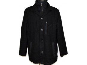 Vlněný pánský černý kabát na zip, knoflíky Marks&Spencer XL
