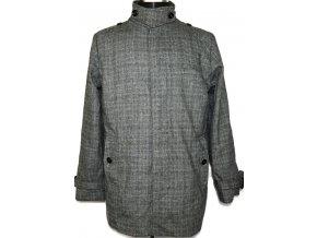 Vlněný pánský šedočerný kabát L