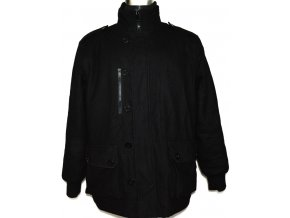 Vlněný pánský černý kabát na zip, knoflíky L