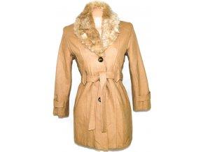 Vlněný dámský béžový kabát s páskem CLICK S
