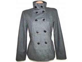 Vlněný dámský šedý kabát L