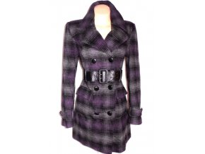 Dámský černofialový kabát s páskem 40