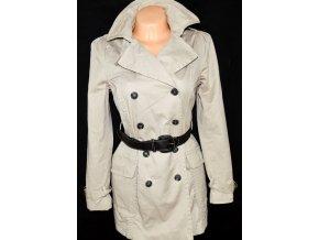 Bavlněný dámský béžový kabát s páskem ZARA XL