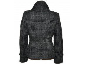 Dámský šedočerný kabát s páskem M
