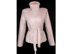 Bavlněný dámský béžový kabát s páskem NEXT 12/40 4