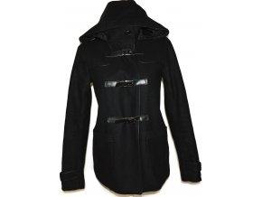 Vlněný dámský černý kabát na pásky CAMAIEU M
