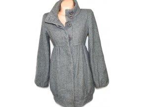 Vlněný dámský šedý kabát s páskem JANE NORMAN M