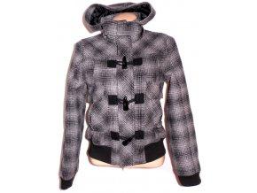 Dámská zateplená šedočerná bunda na zip, vidlice M