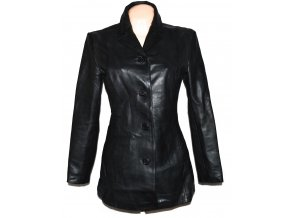 KOŽENÝ dámský černý měkký kabát Barneys L