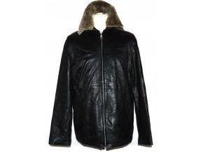KOŽENÁ pánská černá měkká bunda na zip s kožíškem LINEA