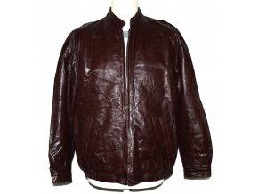 KOŽENÁ pánská hnědá zateplená bunda na zip M
