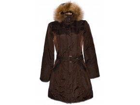Dámský hnědý kabát s páskem a kapucí Pietro Filipi S