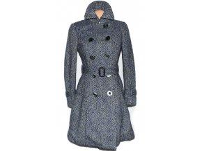 Vlněný dámský modrozelený kabát s páskem S/M