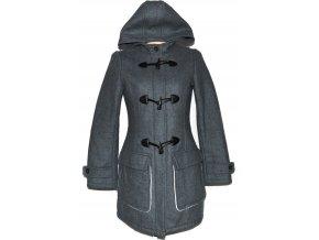 Vlněný dámský šedý kabát na zip, vidlice s kapucí TCM M