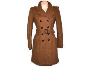 Vlněný dámský hnědý kabát s páskem H&M 38
