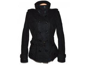 Vlněný dámský černý kabát s páskem ORSAY L