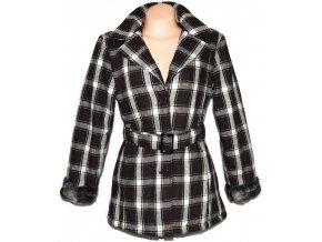 Dámský hnědý kostkovaný zateplený kabát s páskem L