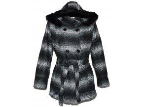 Vlněný dámský pruhovaný kabát s páskem a kapucí XL