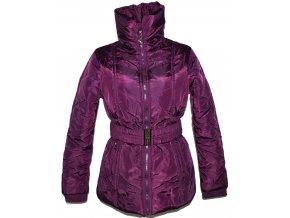 Dámský šusťákový fialový kabát s páskem M