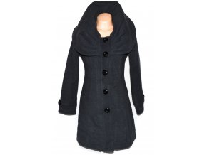 Vlněný dámský šedý kabát s límcem L