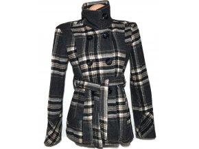 Vlněný dámský šedý kostkovaný kabát s páskem L