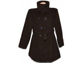 Vlněný dámský hnědý kabát s páskem XXL