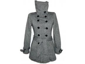 Vlněný dámský černobílý kabát s páskem ORSAY M