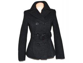 Vlněný (80%) dámský šedý kabát s páskem M