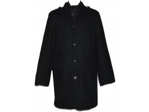 Vlněný pánský černý dlouhý zateplený kabát SMOG