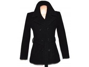 Vlněný dámský černý kabát s páskem (vlna, kašmír) L