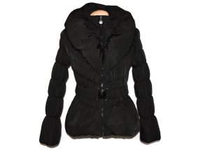 Dámský černý šusťákový kabát s páskem a límcem S