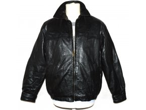 KOŽENÁ pánská černá zateplená bunda na zip GEORGE M