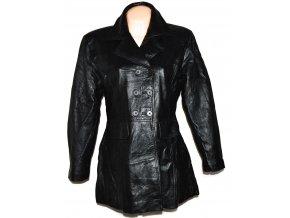 KOŽENÝ dámský černý měkký zateplený kabát XL