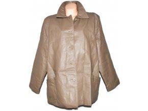 KOŽENÝ dámský béžový kabát MILAN LEATHER XXXL+