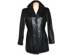 KOŽENÝ dámský černý měkký kabát L