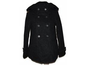 Vlněný dámský černý kabát s kapucí ZARA S