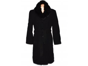 Vlněný (80%) dámský černý dlouhý kabát s páskem a kožíškem BHS XXL 2