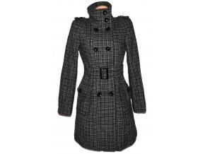 Vlněný dámský černobílý kabát s páskem NEXT M