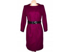 Vlněný (80%) dámský fialový kabát s páskem Savida 14/42