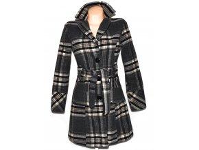 Vlněný dámský šedý kostkovaný kabát s páskem M