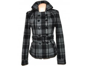 Vlněný dámský šedočerný kostkovaný kabát s páskem Kenvelo S