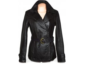 KOŽENÝ dámský hnědý kabát s páskem WALLIS M