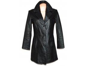 KOŽENÝ dámský černý kabát 36
